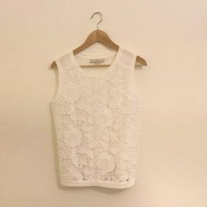LOFT Floral Crochet Linen Sleeveless White Blouse